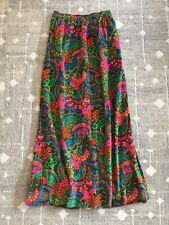 VTG 60's 70's Velvet Retro Maxi Skirt Groovy Pink Orange Floral Small Medium S M