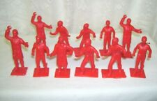 Vintage Red Toy Figures Dressed in Top Coat or Shirt Tie and Pants Set of 11