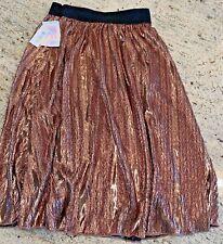 LuLaRoe NWT Elegant Jill Skirt Size XS Extra Small Rose Copper Metallic Gold