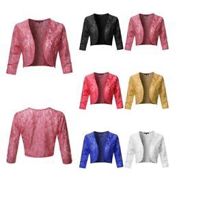 FashionOutfit Women's 3/4 Sleeve Floral Lace Shrug Bolero Cardigan - Made in USA