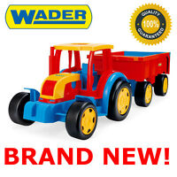 NEW GIANT TRACTOR 102CM LONG WITH TRAILER BEST TOY DRAG TROLLEY FOR KIDS