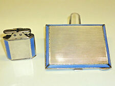 SARASTRO ART DECO Lighter & Tobacco Case-Silver & guillochée enamel-RARE
