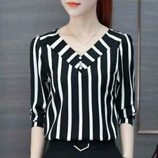 Autumn Fall Office Ladies Blouses Top Women Striped Shirt Female Long Sleeve