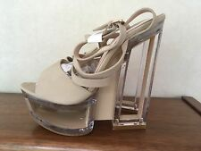 Pole Dancing Shoes party Perspex Strappy Heels 5 Inc beige Size 5/38