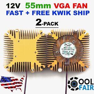 12v 55mm VGA Video Card Heatsink Cooling Fan PC CPU Aluminum Cooler 2Pin 2pcs