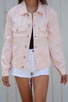New! Brandy Melville Oversize cotton peachy pink Shaine Denim Jacket NWT M