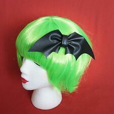 Bat Bow Black Faux Leather Goth Emo Halloween Jack Hair Bow Clip Accessory