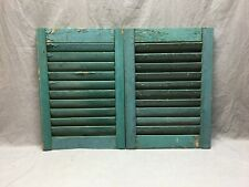 Small Pair Antique House Window Wood Louvered Green Shutters 15x21  Vtg 286-19J