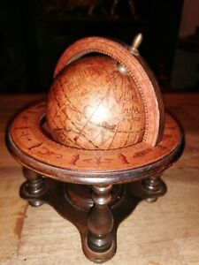 Vintage Wooden Olde World Globe with Astrology Signs Made in Italy.