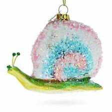 Snail with Colorful Beads Blown Glass Christmas Ornament
