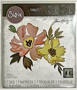 TIM HOLTZ CUT EMBOSS & STENCIL THIN DIES ~BRUSHSTROKE FLOWER #1 CODE 665209