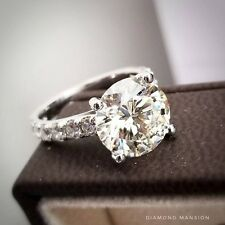 1.50ctw Natural Round Cut U-Pave Diamond Engagement Ring - GIA Certified