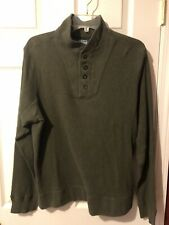 POLO RALPH LAUREN PULLOVER 1/4 BUTTON SWEATER L OLIVE DRAB (ARMY) GREEN SZ Large
