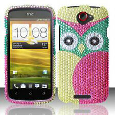 For T-Mobile HTC One S Crystal Diamond BLING Hard Case Phone Cover Green Owl