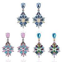 Elegant Women Ladies Rhinestone Resin Flower Ear Stud Drop Dangle Earring Gift