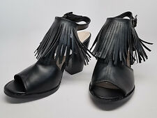 BLACK SANDALS Size 9 high heel stacked Vegan faux leather peep toe fringe tassle