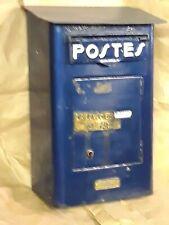 Ancienne Boite Aux Lettre Laposte Bleu haut 37,5cm X 16,5CM X 2CM