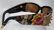 Christian Audigier Sunglasses CAS412 Gold crowns Black Frame Brown Lens