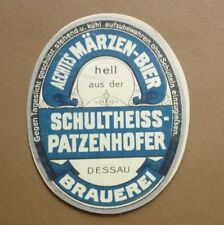 1950s GERMAN BEER LABEL BIERETIKETTEN, BRAUEREI SCHULTHEISS PATZENHOFER DESSAU