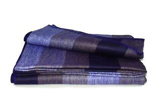 HANDMADE ALPACA WOOL BLANKET - LARGE SOFT WARM THROWS (Purple Hue Thick Stripe)