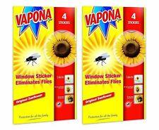 8 x Vapona Fly Killer Sunflower Window Stickers Eliminates Flies Pack of 2