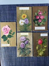 ca 1910 Set of 5 Gold Postcards w/ Flowers Daisies Roses Chrysanthemums