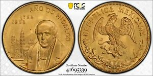 Mexico 1953 GOLD ~1/4 Oz 10 Pesos Gold Hidalgo's Birth PCGS MS66 Gem Grove P220
