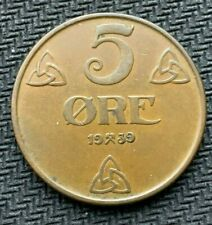 1939 Norway 5 Ore coin XF     Condition Rarity World Coin    #C926