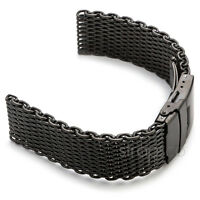 20mm Matte Black Shark Mesh Stainless Steel Watch Band Strap fits Seiko