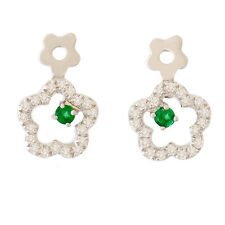 EMERALD DIAMOND EARRINGS. 40 DIAMONDS + PETITE EMERALDS IN 9K 9CT 375 WHITE GOLD