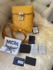 Mcm Berlin Rectangle Monogram Leather Crossbody Bag Golden Mango $1050 Rare