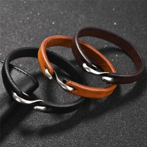 Men's Women's Vintage Genuine Leather Handmade Wristband Bracelet