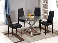 SELINA Chrome Round Glass Round Dining Table and 4 Leather Dining Chairs