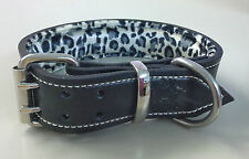 XX-Large Black Leather Dog Collar with Soft Leopard Skin Patterned Padded Lining