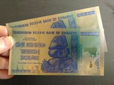 Zimbabwe 100 Hundred Trillion Dollars Souvenir Banknote Gold & Silver...