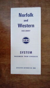 NORFOLK and WESTERN RAILWAY Oct. 30, 1966 - Timetable - *HISTORIC* - *CLOSEOUT*