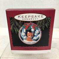 1993 Snowy Hideaway Fox Hallmark Christmas Tree Ornament MIB Price Tag H5