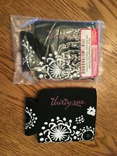 New! Thirty-One Party Thermal Can Cooler Set of 2 Nip Black Floral Brushstrokes