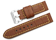 24mm Brown Genuine Leather Watch Band Steel Buckle Replacement Strap For Panerai