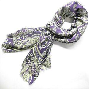 NWT Battisti Napoli Scarf Purple Floral print in Modal and Cashmere
