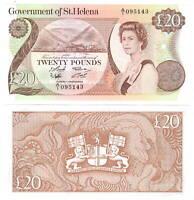 St. HELENA 20 POUNDS (1986) P-10a Queen Elizabeth II UNC A/1 Prefix CV = $165 US