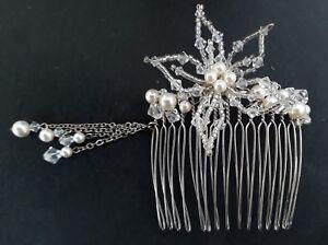 Handmade clear Swarovski crystal & pearls bridal comb w flower & tassels 6.5cm