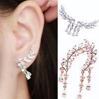Women Fashion Crystal Rhinestone Leaves Tassel Ear Stud Earrings 1Pair New CHIC