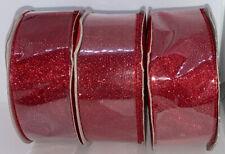 "New ! 1.5"" Red Glitter Ribbon 35' - Wondershop Lot Of 3"