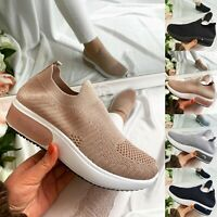 LADIES WOMENS SLIP ON GLITTER SOCK WEDGE SNEAKERS JOGGING PUMPS SHOES TRAINERS