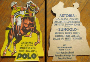 Polo Player on Horse 1930 French Delicacy Food Advertising Stand-Up Display/Sign