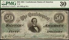 1861 $50 DOLLAR JEFFERSON DAVIS CONFEDERATE STATES CURRENCY NOTE MONEY T-16 PMG