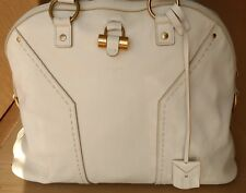 "Matt White Saint Laurent (""YSL"") Large Leather Dome Muse Tote"