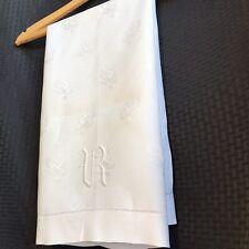 """Vintage Table Runner Embroidered Monogram """"R"""" Jacquard Roses White Fine Linen"""
