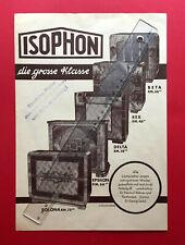 alter Prospekt ISOPHON Lautsprecher Beta Rex Delta Epsilon Solona 1931 ( F19163